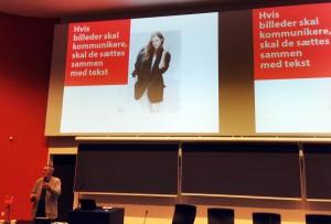 Dagens snodigste påstand på en visuell konferanse. Bilder må altså stå til en tekst? Vrøvl, vil jeg påstå.
